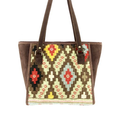 Pistachio Tote Handmade with Handwoven Persian Kilim TruFlair