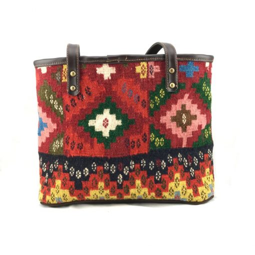Rose Bucket Tote Handmade with Handwoven Persian Kilim TruFlair
