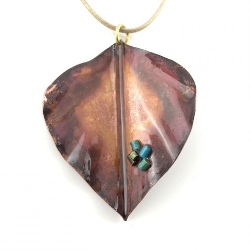 Autumn Leaves Copper Pendant Handmade Jewellery TruFlair
