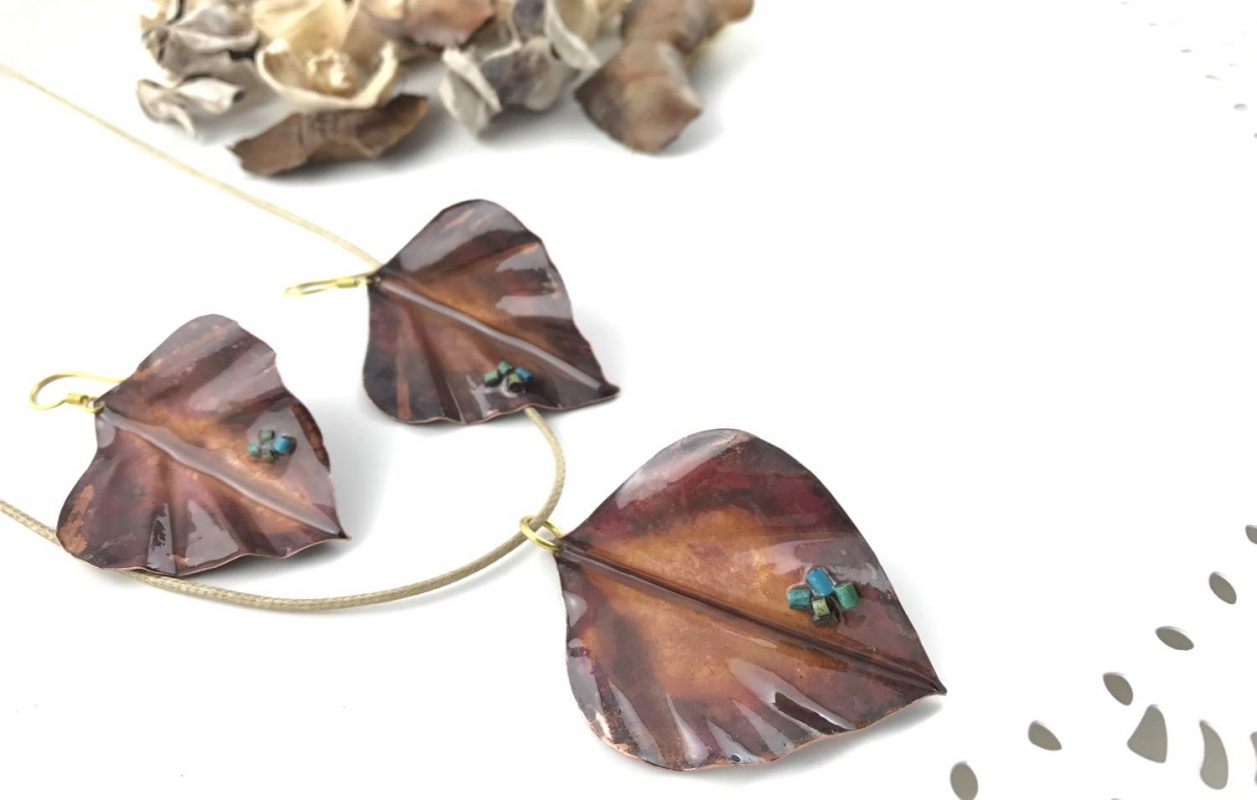 Autumn Leaves Handcrafted Earrings, Copper TruFlair