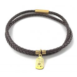 Birdcage Braid Leather Bracelet 18k Gold Handmade Jewellery TruFlair