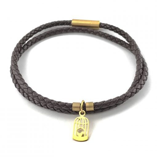 Birdcage Braid Leather Bracelet 18k Gold Handmade Jewellery TruFlair