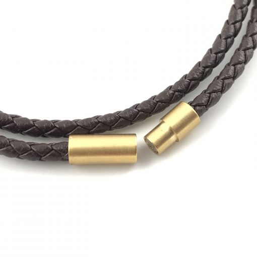 Braid Leather Bracelet 18k Gold Handmade Jewellery TruFlair