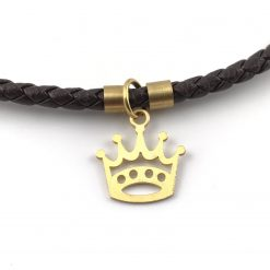 Crown Braid Leather Bracelet 18k Gold Handmade Jewellery TruFlair