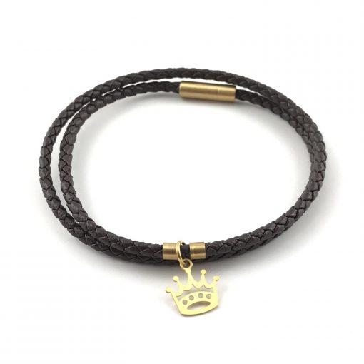 Crown Braid Leather Bracelet 18k Gold Handmade Jewellery TruFlair