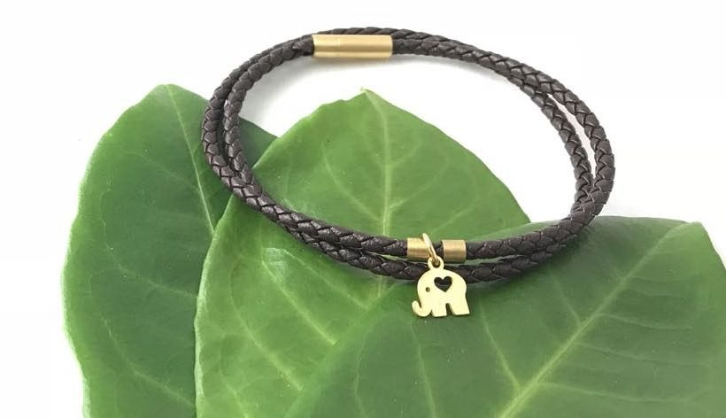 Elephant Braid Leather Bracelet, , 18k Solid Gold Tag TruFlair