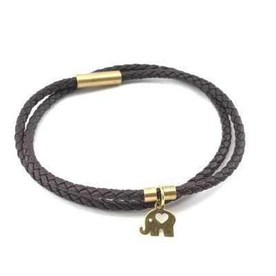 Elephant Braid Leather Bracelet 18k Gold Handmade Jewellery TruFlair