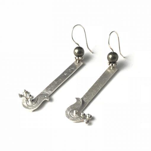 Fancy Pigeons Sterling Silver Pyrite Earrings Handmade Jewellery TruFlair