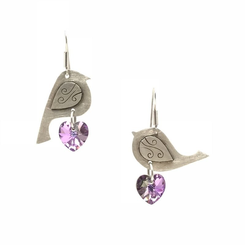 Love Birds Sterling Silver Swarovski Earrings Handmade Jewellery TruFlair
