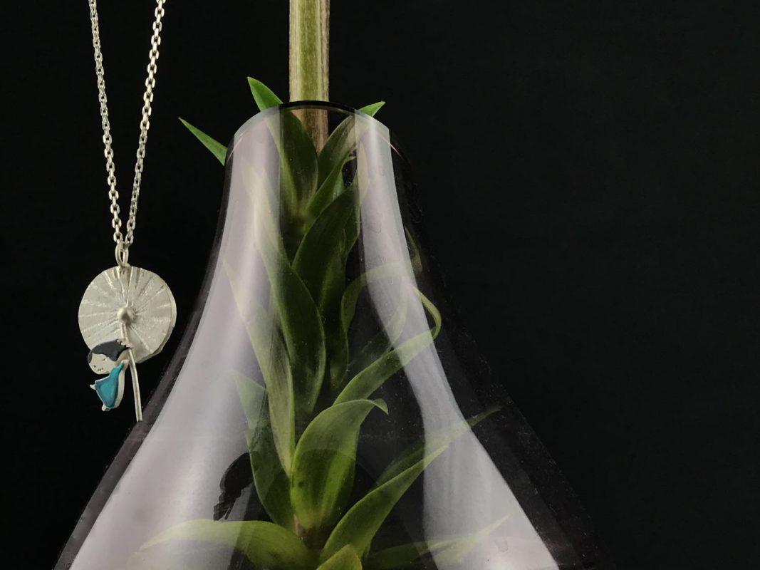 Mademoiselle Dandelion Handcrafted Pendant, Sterling Silver & Enamel TruFlair