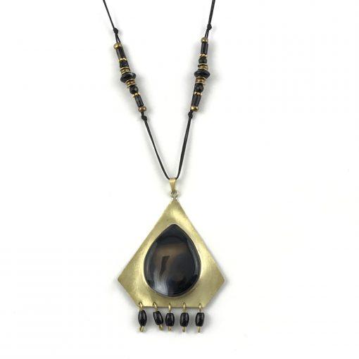 Night Eye Brass Opal Necklace Handmade Jewellery TruFlair