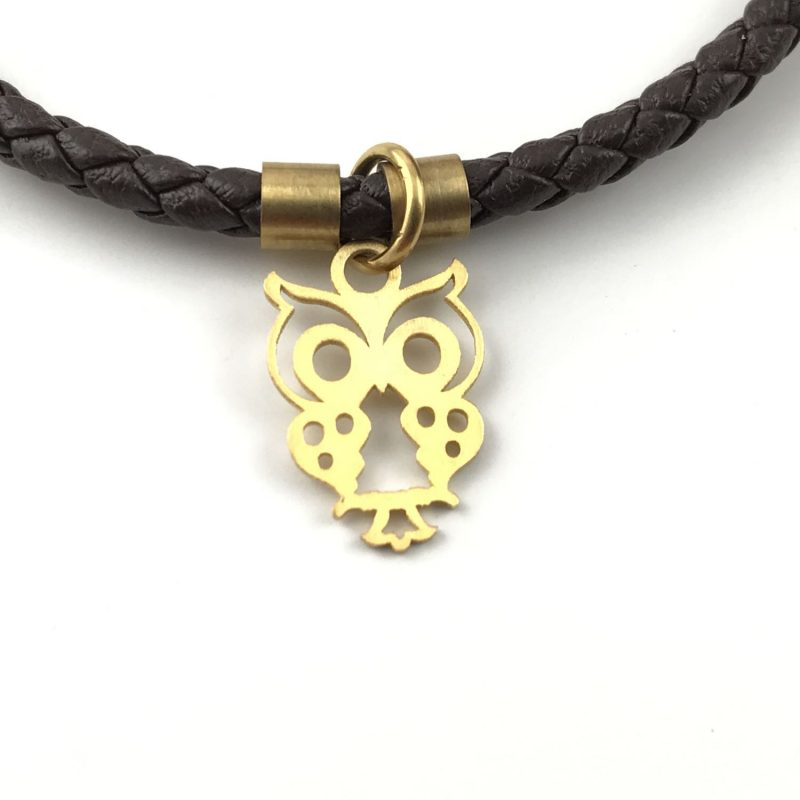 Owl Braid Leather Bracelet 18k Gold Handmade Jewellery TruFlair
