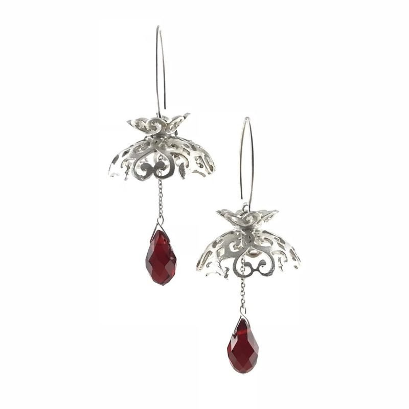 Red Velvet Drops Sterling Silver Ruby Earrings Handmade Jewellery TruFlair