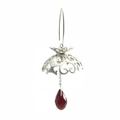 Red Velvet Drops Sterling Silver Ruby Earrings Handmade Jewellery TruFlair