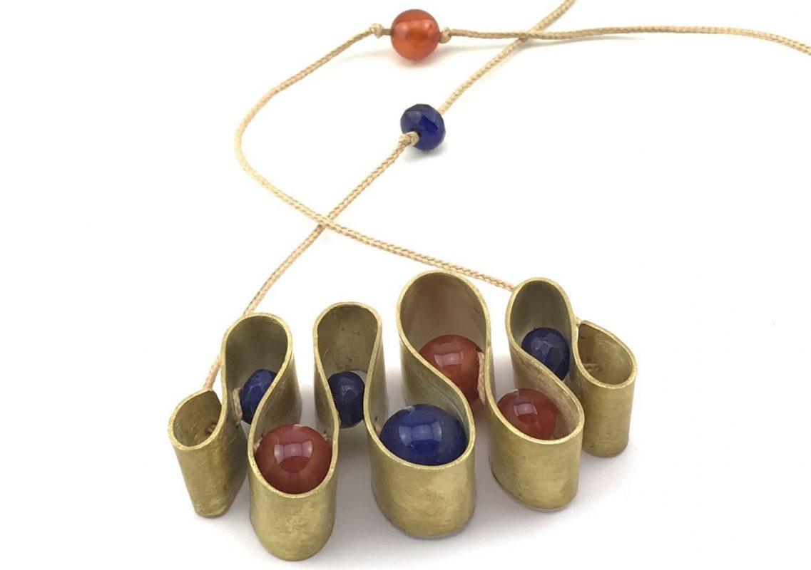 Serpentine Handcrafted Necklace, Brass & Opal TruFlair