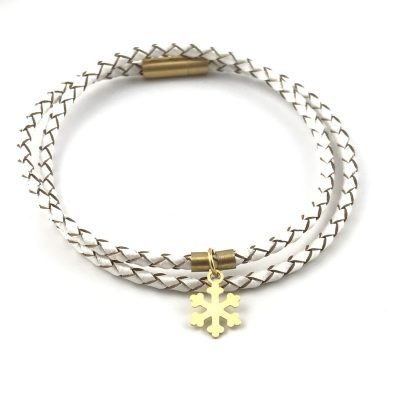 Snowflake Braid Leather Bracelet 18k Gold Handmade Jewellery TruFlair