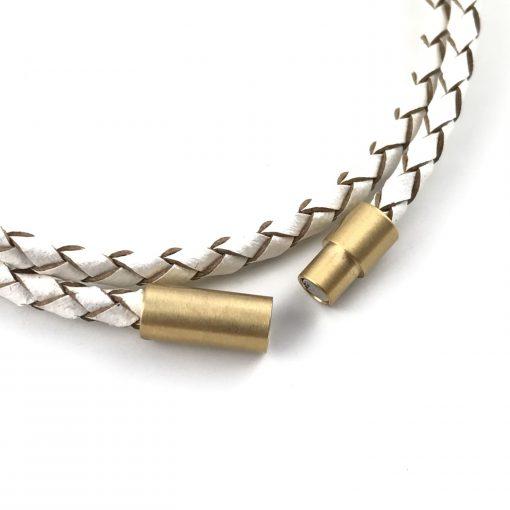 Snowflake Braid Leather Bracelet 18k Gold Handmade Jewellery TruFlair