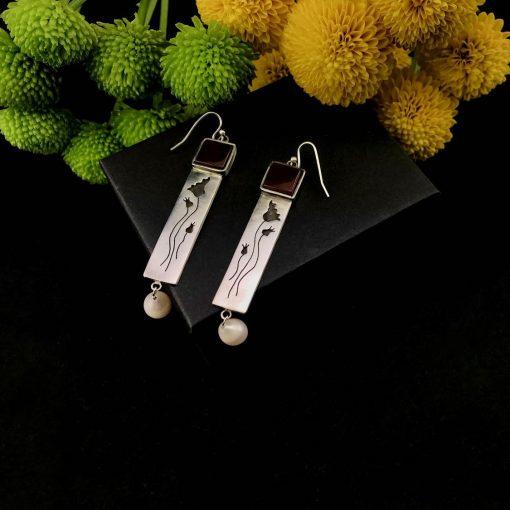 Wild Tulips Sterling Silver Opal Pearl Earrings Handmade Jewellery TruFlair