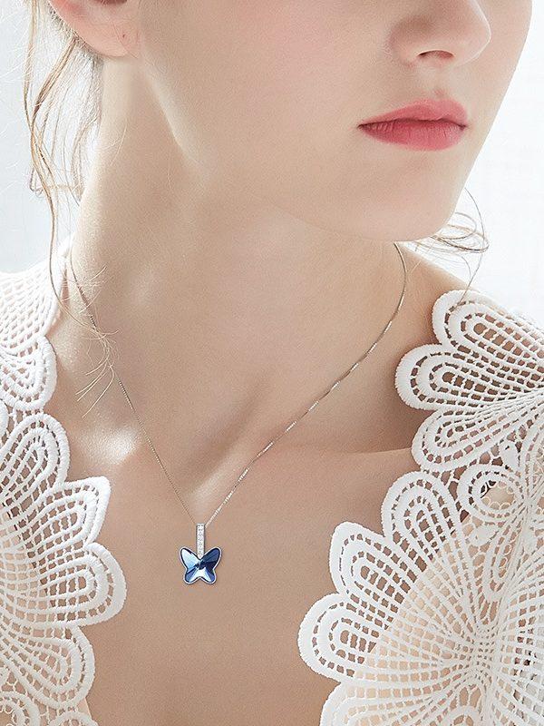 Swarovski Crystal Butterfly Silver Pendant TruFlair