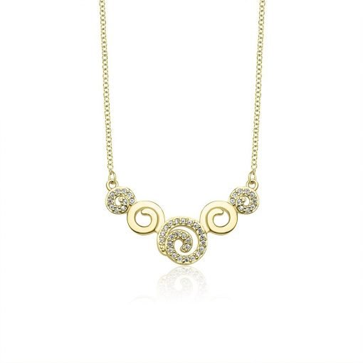 Sparkling Spiral Gold Plated Sterling Silver Necklace TruFlair Online Boutique