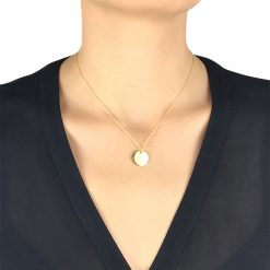 Shiny Disc Pendant Gold Plated Sterling Silver TruFlair Online Boutique