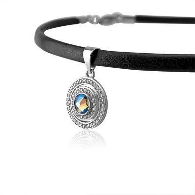 Swarovski Crystal Round Talisman Silver Choker TruFlair Online Boutique