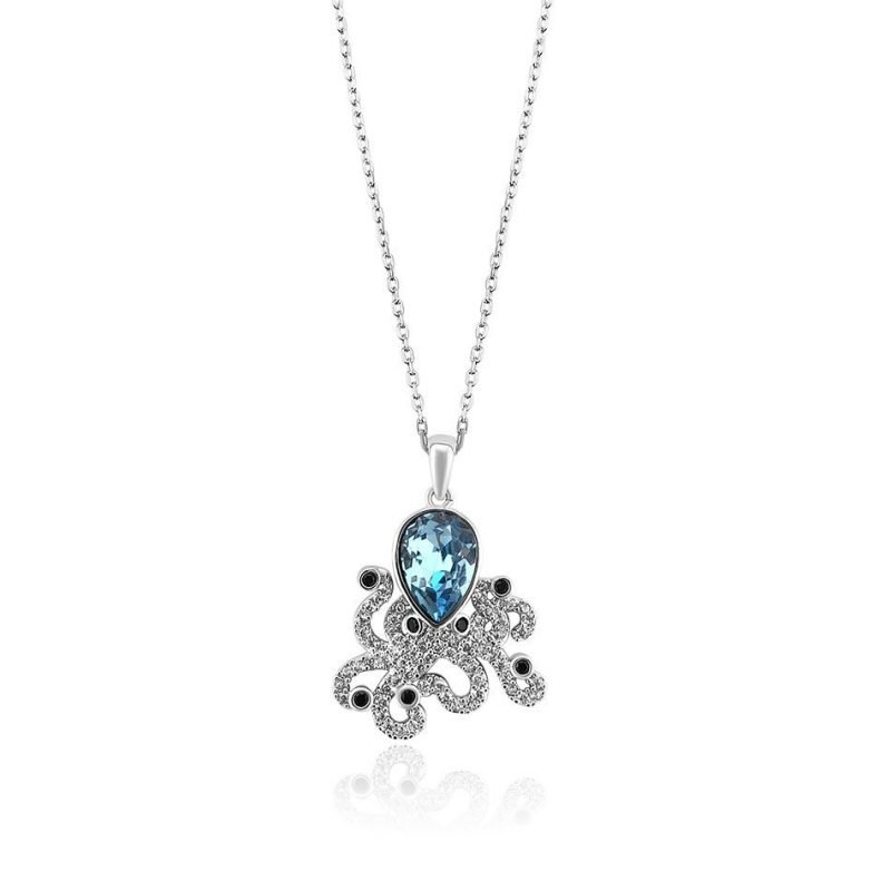 Posh Octopussy Swarovski Crystal Platinum Plated Pendant TruFlair Online Boutique