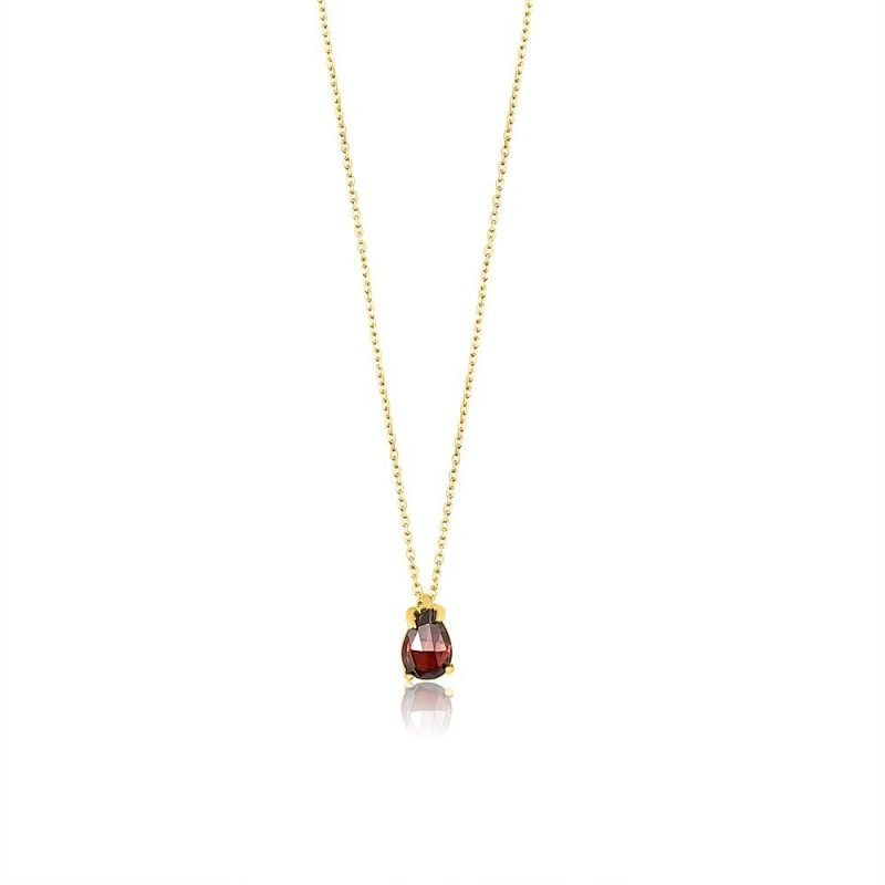 Geometric Red Stone Sterling Silver Gold Plated Pendant TruFlair Online Boutique