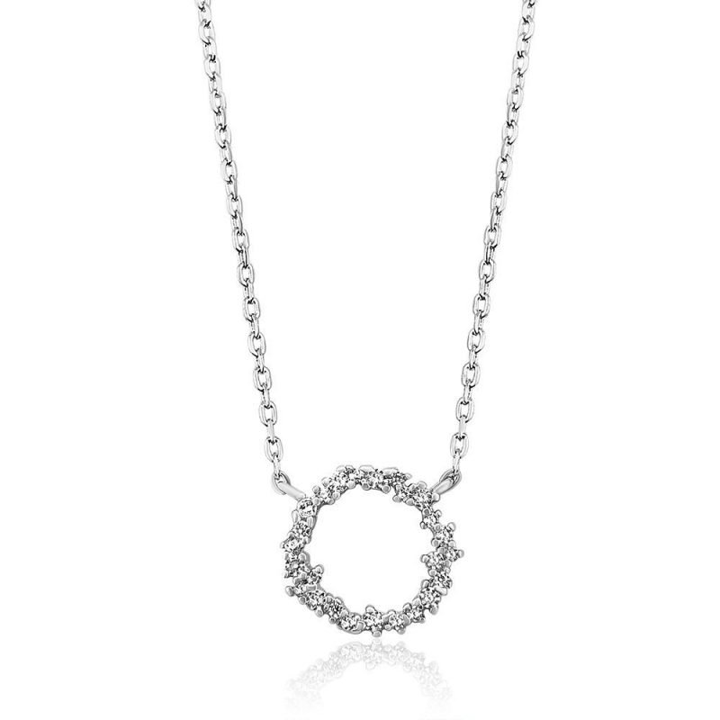 Casual Round Crystal White Gold Plated Sterling Silver Necklace TruFlair Online Boutique