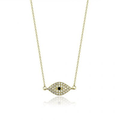 Evil Eye Crystal Paved Gold Plated Sterling Silver TruFlair Online Boutique