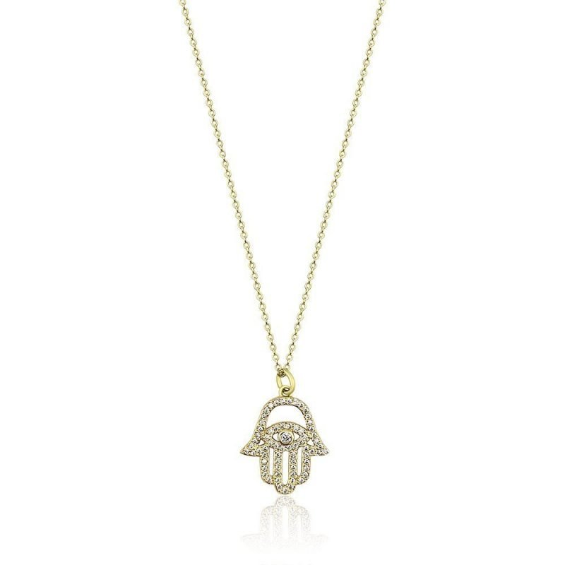 Hamsa Hand Gold Plated Sterling Silver Cubic Zirconia TruFlair Online Boutique