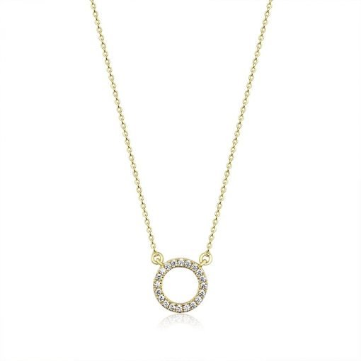 Simple Round Sparkle Necklace Sterling Silver Gold Plated Cubic Zirconia Crystals TruFlair Online Boutique