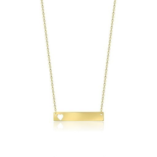 Hearted Bar Gold Plated Sterling Silver Necklace TruFlair Online Boutique