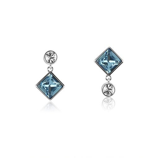 Square Blue Swarovski Crystals Copper Alloy Platinum Plated Earrings TruFlair Online Boutique