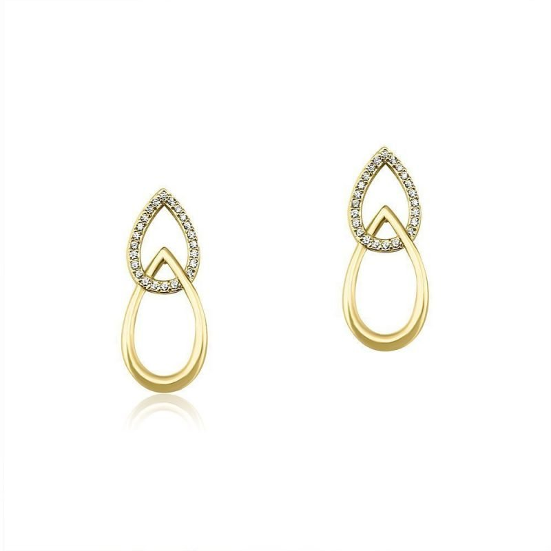 Interlocked Drops Earrings Gold Plated Sterling Silver Cubic Zirconia TruFlair Online Boutique