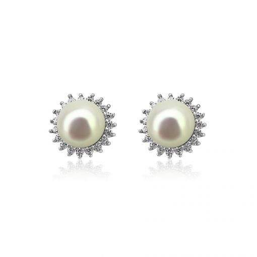 Sun Freshwater Pearl Sterling Silver Cubic Zirconia Earrings TruFlair Online Boutique