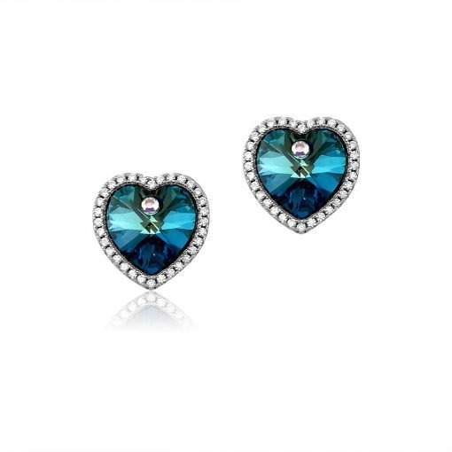 Blue Heart Swarovski Crystals Sterling Silver Platinum Plated Earrings TruFlair Online Boutique
