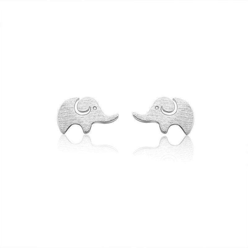 Elephant Brushed Sterling Silver Earrings TruFlair Online Boutique