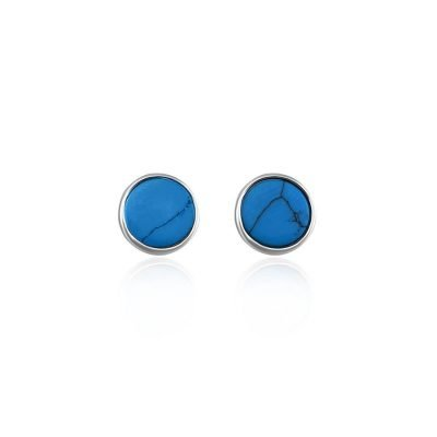 Simple Round Blue Turquoise Sterling Silver Stud Earrings TruFlair Online Boutique
