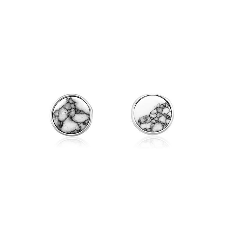 Simple Round White Turquoise Sterling Silver Stud Earrings TruFlair Online Boutique
