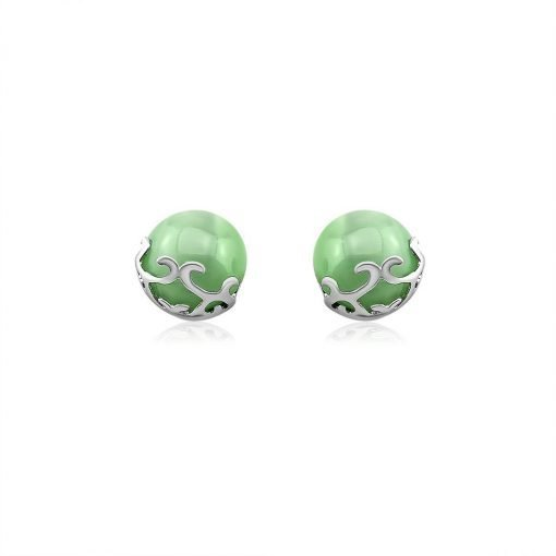 Green Agate Sterling Silver Stud Earrings TruFlair Online Boutique