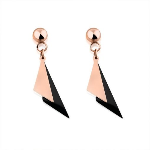 Titanium Triangle Rose Gold Plated Drop Earrings TruFlair Online Boutique