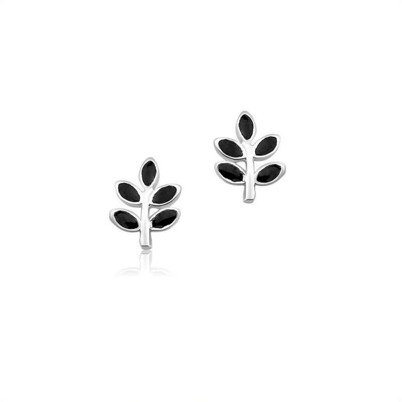 Olive Leaf Sterling Silver Stud Earrings TruFlair Online Boutique