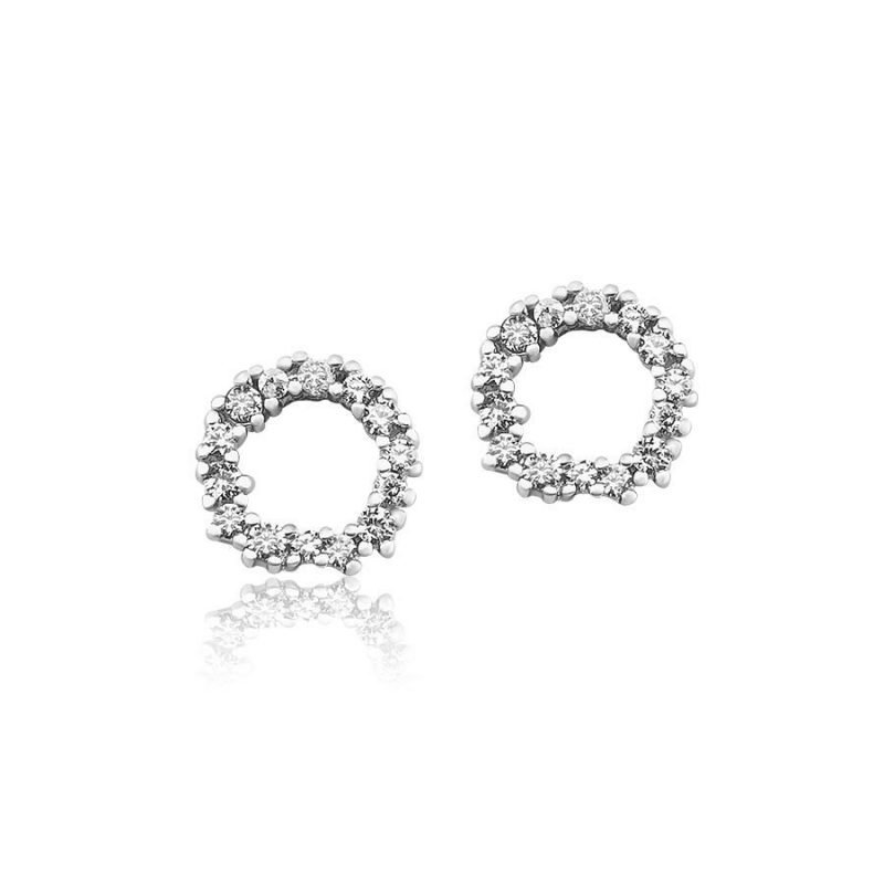 Casual Round Crystal Stud Earrings Platinum Plated Sterling Silver TruFlair Online Boutique