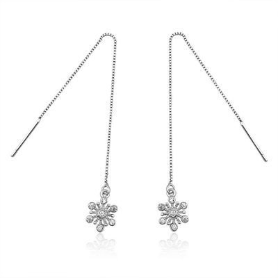 Snowflake Platinum Plated Sterling Silver Cubic Zirconia Crystal Threader Earrings TruFlair Online Boutique