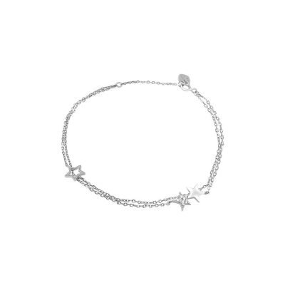 Star Double-layered Sterling Silver Bracelet with Cubic Zirconia TruFlair Online Boutique