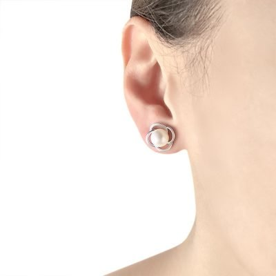 Flower Freshwater Pearl Sterling Silver Earrings TruFlair Online Boutique