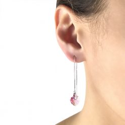 Lilac Heart Crystal Swarovski Sterling Silver Platinum Plated Threader Earrings TruFlair Online Boutique