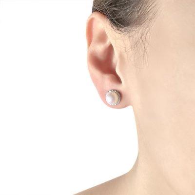 Swirl Freshwater Pearl Sterling Silver Earrings TruFlair Online Boutique