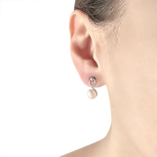 Round Freshwater Pearl Platinum Plated Sterling Silver Earrings TruFlair Online Boutique